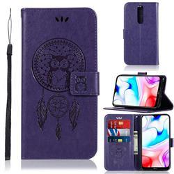 Intricate Embossing Owl Campanula Leather Wallet Case for Mi Xiaomi Redmi 8 - Purple