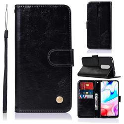Luxury Retro Leather Wallet Case for Mi Xiaomi Redmi 8 - Black