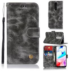 Luxury Retro Leather Wallet Case for Mi Xiaomi Redmi 8 - Gray