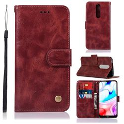 Luxury Retro Leather Wallet Case for Mi Xiaomi Redmi 8 - Wine Red
