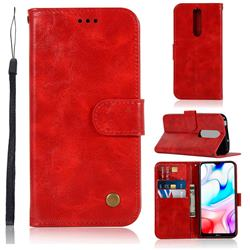 Luxury Retro Leather Wallet Case for Mi Xiaomi Redmi 8 - Red