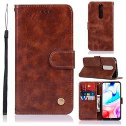 Luxury Retro Leather Wallet Case for Mi Xiaomi Redmi 8 - Brown