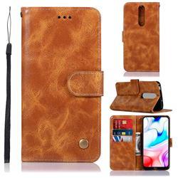 Luxury Retro Leather Wallet Case for Mi Xiaomi Redmi 8 - Golden