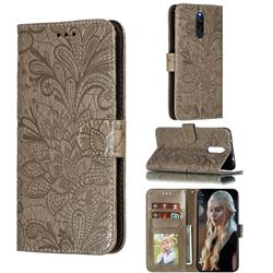 Intricate Embossing Lace Jasmine Flower Leather Wallet Case for Mi Xiaomi Redmi 8 - Gray