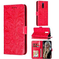 Intricate Embossing Lace Jasmine Flower Leather Wallet Case for Mi Xiaomi Redmi 8 - Red