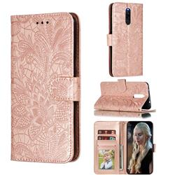 Intricate Embossing Lace Jasmine Flower Leather Wallet Case for Mi Xiaomi Redmi 8 - Rose Gold