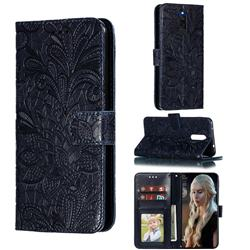 Intricate Embossing Lace Jasmine Flower Leather Wallet Case for Mi Xiaomi Redmi 8 - Dark Blue