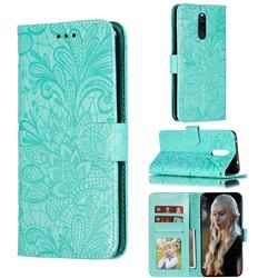 Intricate Embossing Lace Jasmine Flower Leather Wallet Case for Mi Xiaomi Redmi 8 - Green
