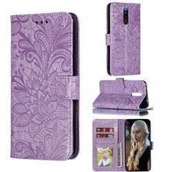 Intricate Embossing Lace Jasmine Flower Leather Wallet Case for Mi Xiaomi Redmi 8 - Purple