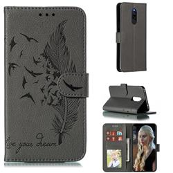 Intricate Embossing Lychee Feather Bird Leather Wallet Case for Mi Xiaomi Redmi 8 - Gray
