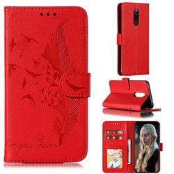 Intricate Embossing Lychee Feather Bird Leather Wallet Case for Mi Xiaomi Redmi 8 - Red
