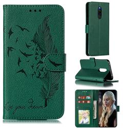 Intricate Embossing Lychee Feather Bird Leather Wallet Case for Mi Xiaomi Redmi 8 - Green