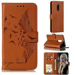 Intricate Embossing Lychee Feather Bird Leather Wallet Case for Mi Xiaomi Redmi 8 - Brown
