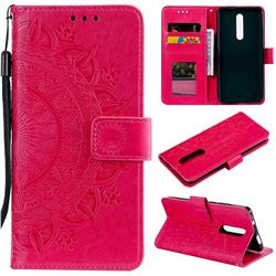 Intricate Embossing Datura Leather Wallet Case for Mi Xiaomi Redmi 8 - Rose Red