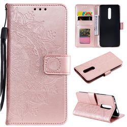 Intricate Embossing Datura Leather Wallet Case for Mi Xiaomi Redmi 8 - Rose Gold