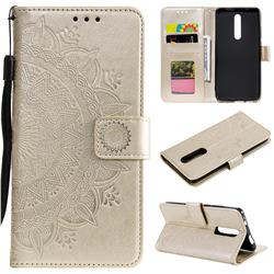 Intricate Embossing Datura Leather Wallet Case for Mi Xiaomi Redmi 8 - Golden