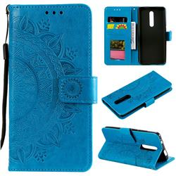 Intricate Embossing Datura Leather Wallet Case for Mi Xiaomi Redmi 8 - Blue