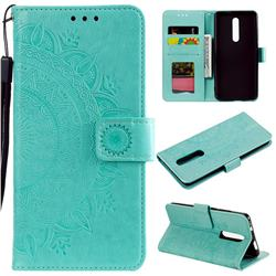 Intricate Embossing Datura Leather Wallet Case for Mi Xiaomi Redmi 8 - Mint Green