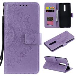 Intricate Embossing Datura Leather Wallet Case for Mi Xiaomi Redmi 8 - Purple