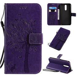 Embossing Butterfly Tree Leather Wallet Case for Mi Xiaomi Redmi 8 - Purple