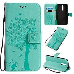 Embossing Butterfly Tree Leather Wallet Case for Mi Xiaomi Redmi 8 - Cyan