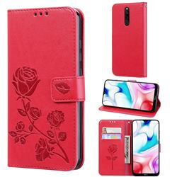 Embossing Rose Flower Leather Wallet Case for Mi Xiaomi Redmi 8 - Red