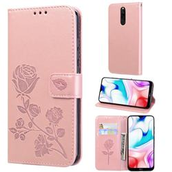 Embossing Rose Flower Leather Wallet Case for Mi Xiaomi Redmi 8 - Rose Gold