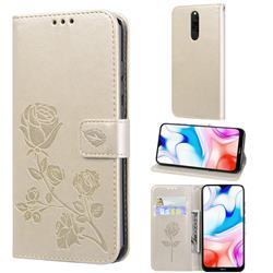 Embossing Rose Flower Leather Wallet Case for Mi Xiaomi Redmi 8 - Golden
