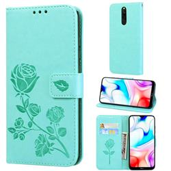 Embossing Rose Flower Leather Wallet Case for Mi Xiaomi Redmi 8 - Green