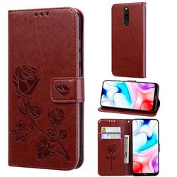 Embossing Rose Flower Leather Wallet Case for Mi Xiaomi Redmi 8 - Brown