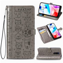 Embossing Dog Paw Kitten and Puppy Leather Wallet Case for Mi Xiaomi Redmi 8 - Gray