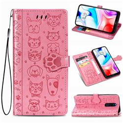 Embossing Dog Paw Kitten and Puppy Leather Wallet Case for Mi Xiaomi Redmi 8 - Pink