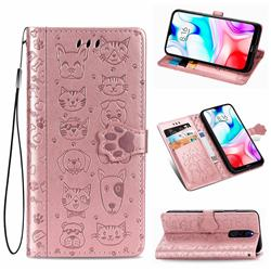 Embossing Dog Paw Kitten and Puppy Leather Wallet Case for Mi Xiaomi Redmi 8 - Rose Gold