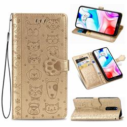 Embossing Dog Paw Kitten and Puppy Leather Wallet Case for Mi Xiaomi Redmi 8 - Champagne Gold