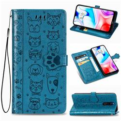 Embossing Dog Paw Kitten and Puppy Leather Wallet Case for Mi Xiaomi Redmi 8 - Blue