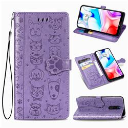Embossing Dog Paw Kitten and Puppy Leather Wallet Case for Mi Xiaomi Redmi 8 - Purple