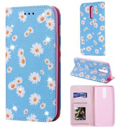 Ultra Slim Daisy Sparkle Glitter Powder Magnetic Leather Wallet Case for Mi Xiaomi Redmi 8 - Blue