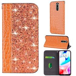 Shiny Crocodile Pattern Stitching Magnetic Closure Flip Holster Shockproof Phone Case for Mi Xiaomi Redmi 8 - Gold Orange