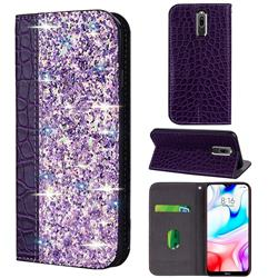 Shiny Crocodile Pattern Stitching Magnetic Closure Flip Holster Shockproof Phone Case for Mi Xiaomi Redmi 8 - Purple
