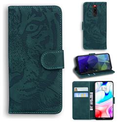 Intricate Embossing Tiger Face Leather Wallet Case for Mi Xiaomi Redmi 8 - Green