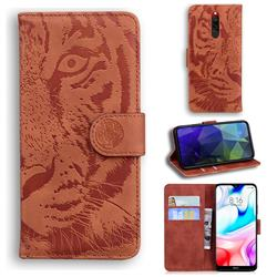 Intricate Embossing Tiger Face Leather Wallet Case for Mi Xiaomi Redmi 8 - Brown