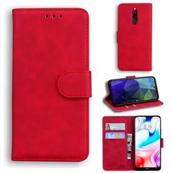 Retro Classic Skin Feel Leather Wallet Phone Case for Mi Xiaomi Redmi 8 - Red