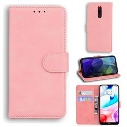 Retro Classic Skin Feel Leather Wallet Phone Case for Mi Xiaomi Redmi 8 - Pink