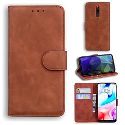 Retro Classic Skin Feel Leather Wallet Phone Case for Mi Xiaomi Redmi 8 - Brown