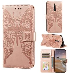 Intricate Embossing Rose Flower Butterfly Leather Wallet Case for Mi Xiaomi Redmi 8 - Rose Gold