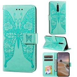 Intricate Embossing Rose Flower Butterfly Leather Wallet Case for Mi Xiaomi Redmi 8 - Green