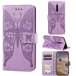 Intricate Embossing Rose Flower Butterfly Leather Wallet Case for Mi Xiaomi Redmi 8 - Purple