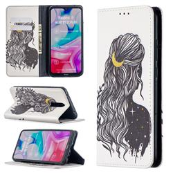 Girl with Long Hair Slim Magnetic Attraction Wallet Flip Cover for Mi Xiaomi Redmi 8