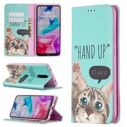 Hand Up Cat Slim Magnetic Attraction Wallet Flip Cover for Mi Xiaomi Redmi 8