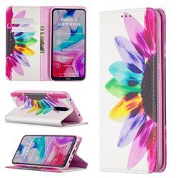 Sun Flower Slim Magnetic Attraction Wallet Flip Cover for Mi Xiaomi Redmi 8